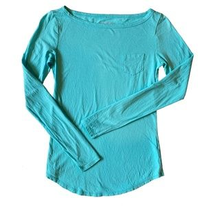 Lilly Pulitzer Tayla Top Turquoise Long Sleeve Tee